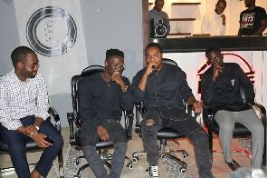 Shaker, second left and Ko-Jo Cue, right at the press soiree