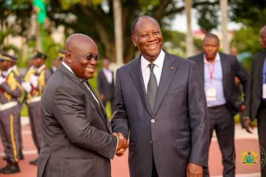 Presidents Nana Akuffo Addo and Alassane Ouattara